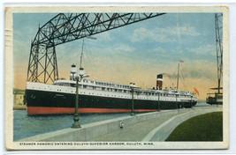 Steamer Hamonic Aerial Bridge Duluth Superior Harbor Minnesota 1923 post... - $6.44