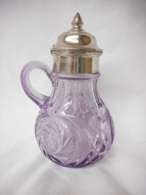 Antique Purple Sunglass Crystal Syrup Pitcher Amethyst with lid L@@K
