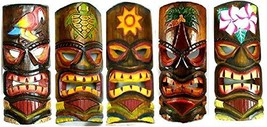 SET OF 5 HAND CARVED POLYNESIAN HAWAIIAN TIKI STYLE MASKS 12 IN TALL turtle pine
