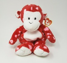 Ty Pluffies 2006 Harts Red Monkey Hearts Stuffed Animal Plush Toy Lovey W/ Tag - $42.08