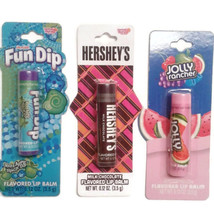 Lot of 3 lip balm Apple, Watermelon, chocolate Fun Dip Jolly Rancher Her... - $10.00