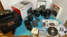 Canon EOS 40D kit 3 Lens Digital SLR Camera Box bag Filters Book CD Flash Stand  - $1,732.50