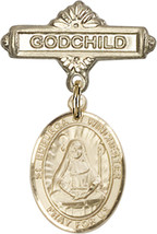 14K Gold Baby Badge with St. Edburga of Winchter Charm Pin 1 X 5/8 inch - $468.56
