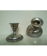 PAIR of LA  PIERRE VINTAGE  WEIGHTED SILVER  CANDLESTICK HOLDERS HALLMARKED - $125.00