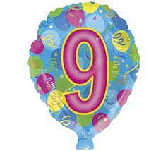 "Happy 9th Ninth Birthday 18"" Mylar Balloon - $3.87"