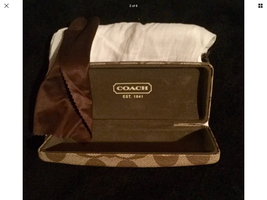 Coach Case Sunglasses Eyeglasses Brown Hard Clamshell W/ Linen Bag And C... - $10.49