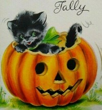 Vintage Halloween Tally Game Card Happy Black Cat NOS Original Hallmark NOS - $24.75