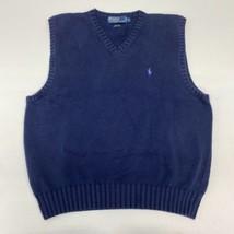 Polo Ralph Lauren Knit Sweater Vest Men's Medium Sleeveless Navy V Neck ... - $18.95