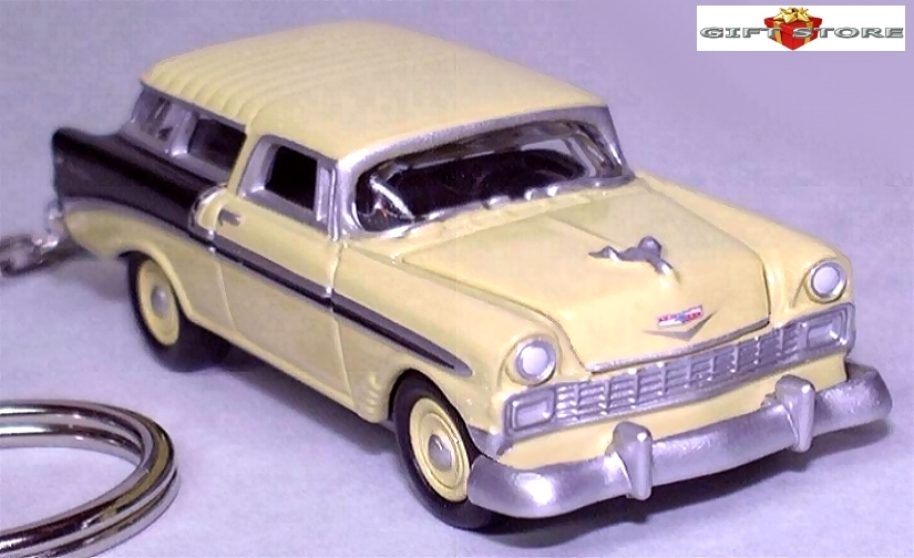 Primary image for KEY CHAIN RING YELLOW BLACK 56/57/1956/1957 CHEVY NOMAD