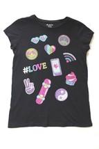 Childrens Place Girls Top Size XL 14 Black Emoji T-Shirt School Casual  - $19.57