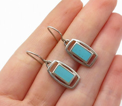 925 Sterling Silver - Vintage Turquoise Inlay Square Dangle Earrings - E... - $25.26