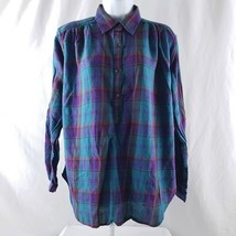 Chaps Womens Size Med Lightweight  Pull Over Button Multi-color Plaid Blouse - $13.71