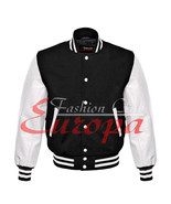 Traditional varsity Jacket Black Wool Letterman With Real White Leather Sleeves - $86.13 - $101.96
