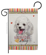 White Poodle Happiness - Impressions Decorative Garden Flag G160208-BO - $19.97