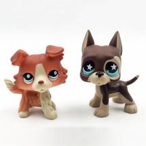 2pcs Littlest Pet Shop Toys #817 LPS Figure #1542 Collie Dog Chocolate D... - $19.97