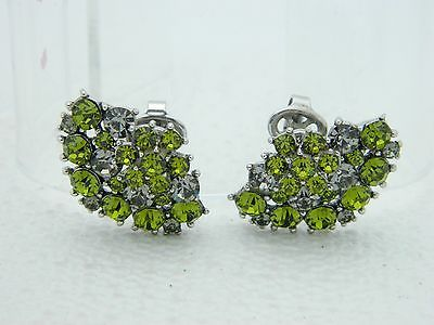 VTG CROWN TRIFARI Silver Tone Green Peridot Gray Rhinestone Flower Clip Earrings