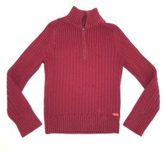 Calvin Klein Jeans Pullover Sweater Women Large Red Half Zip Top - $9.88