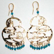 Drop Earrings Silver 925, Carriage, Castle, le Favole, Agate Blue image 4