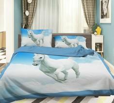 3D White Cloud Running Horse KEP724 Bed Pillowcases Quilt Duvet Cover Kay - $66.98+