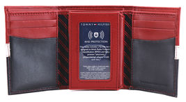 Tommy Hilfiger Men's Premium Leather Trifold Wallet Rfid Red Navy 31TL110022 image 5