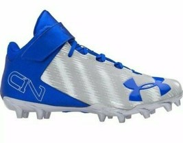 UA Under Armour C1N (Cam Newton) Football Cleats, Men's 14 Blue Grey Sil... - $34.37