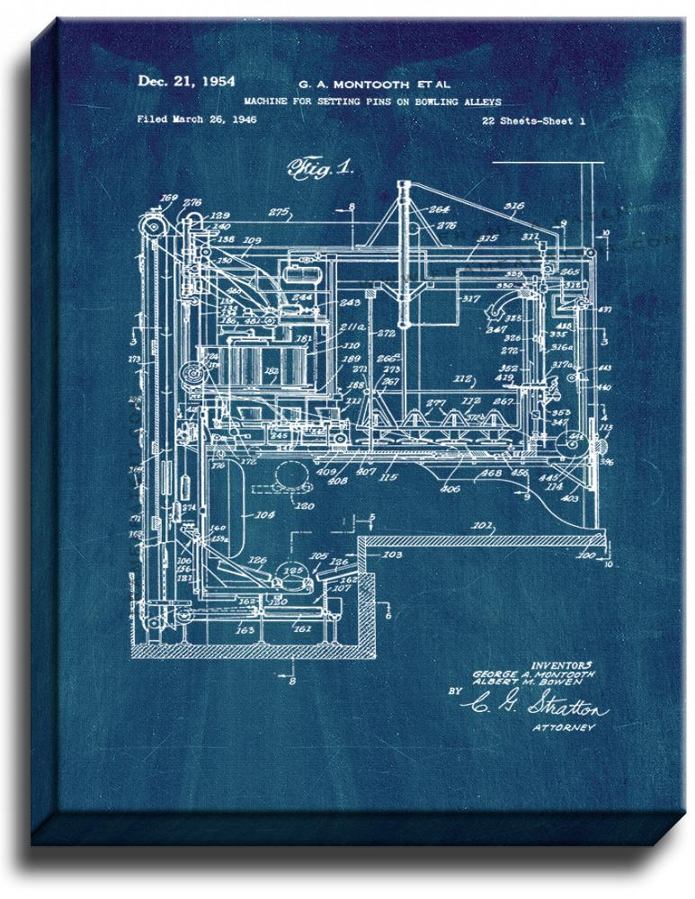 Primary image for Machine for Setting Pins On Bowling Alleys Patent Print Midnight Blue on Canvas