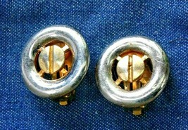 """Mid Century Modern Silver-tone & Gold-tone Clip Earrings 1970s vintage 7/8"""" - $12.30"""