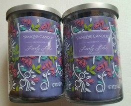 (lot of 2) Yankee Candles Limited Edition Lovely Lilac  Large 22 oz  2 w... - $59.35