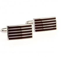 Frederick Thomas marron & couleur argent à rayures rectangulaire manchette - $24.38