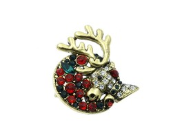 Christmas Reindeer Pin & Brooch with Gold Trim - $12.95