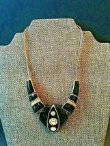Vintage Black Enamel and Gold Tone with Rhinestones Collar Necklace - $13.00
