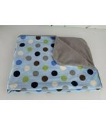 Just Born Blue Sherpa Polka Dot gray Brown Green minky Plush Baby Blanket - $59.39