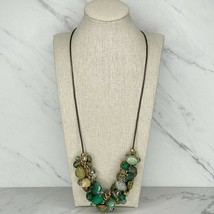 Chico's Saffi Chunky Barrel Beaded Gemstone Cord Long Necklace - $38.69