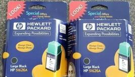 TWO ~ Hewlett Packard HP 51626A Inkjet Cartridges Sealed ~ LARGE Black ~... - $13.46