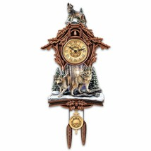 Woodland Forest Wolf Native Rustic Wooden Cuckoo Clock NEW - $266.69