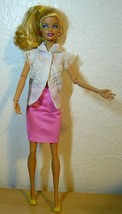 Mattel Barbie Articulate Doll Swap head in white blouse & pink skirt - $21.78
