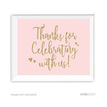 Andaz Press Blush Pink Gold Glitter Print Wedding Collection, Party Sign... - $9.32