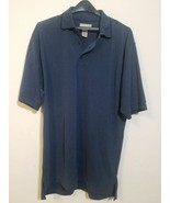 DUNBROOKE CLUB COLLECTION MEN'S POLO SHIRT GOLF SHIRT BLUE RAYON SIZE LA... - $13.71