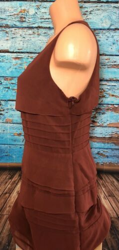 Lush Women's Large Rust Waterfall Dress L Sleeveless Short Lined
