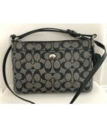 COACH Navy Monogram Coated Canvas w/ Patent Leather Cross-Body/Shoulder ... - $85.04