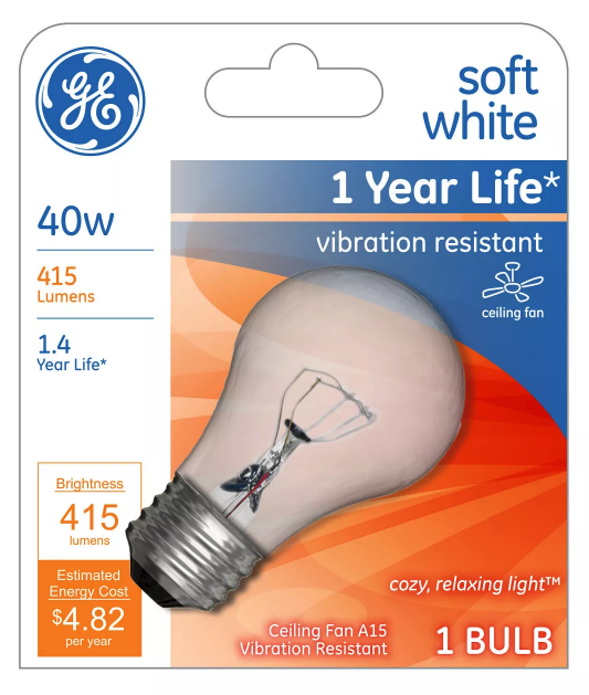GE 99420 A15 Incandescent A-Line Ceiling Fan Bulb Crystal Clear 355 Lumens NEW