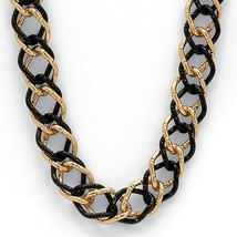 """PalmBeach Jewelry Yellow Gold Tone Black Rhodium-Plated Curb-Link Necklace 34"""" - $23.99"""
