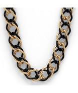 PalmBeach Jewelry Yellow Gold Tone Black Rhodium-Plated Curb-Link Neckla... - $23.99