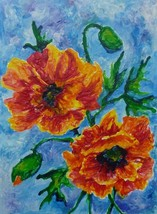 "Akimova: POPPIES, wax painting, 11""x14"" - $15.00"