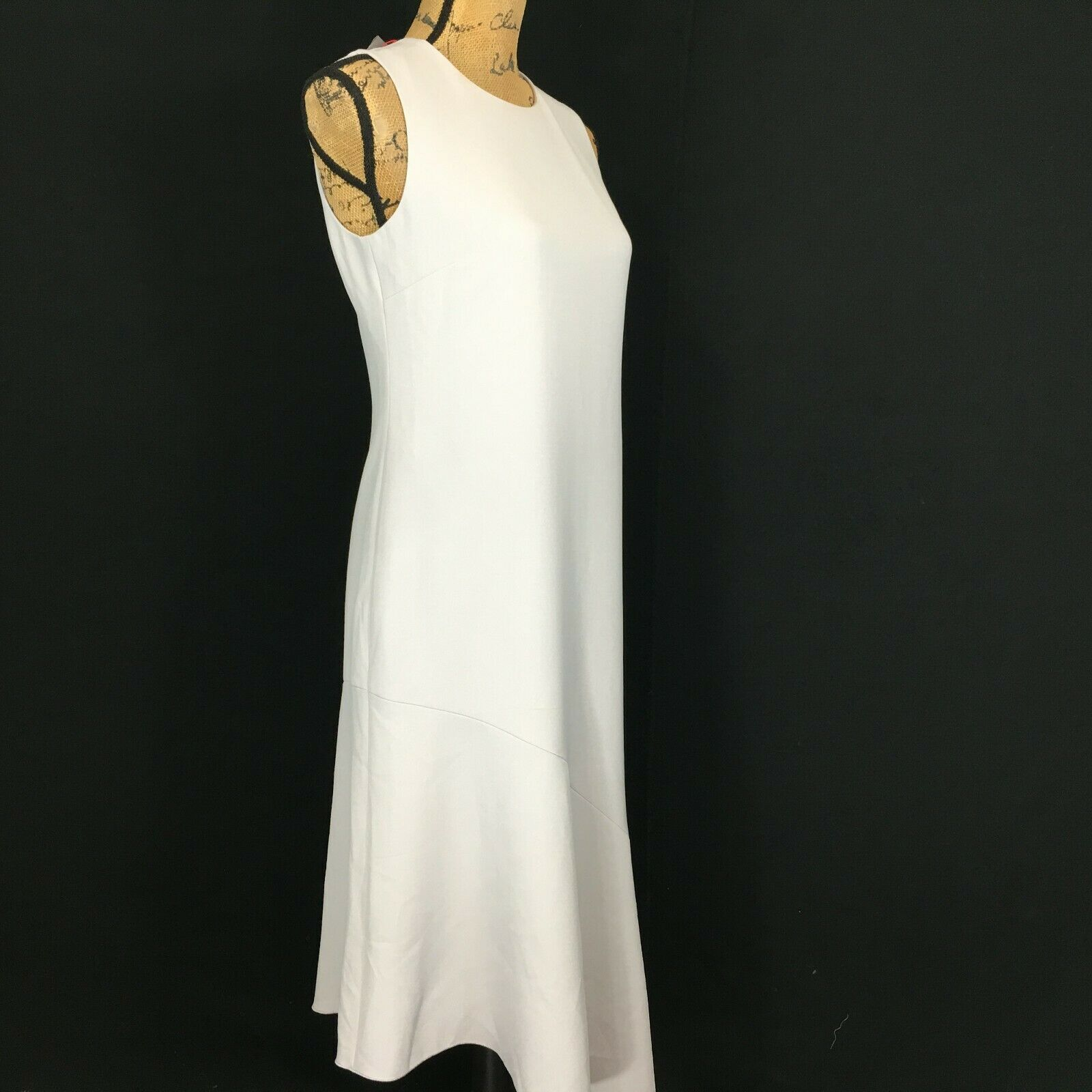 NEW Anne Klein Dress 4 Sm Grey Long Pencil Fit Flare Asymmetric Hem Sexy $139 image 3