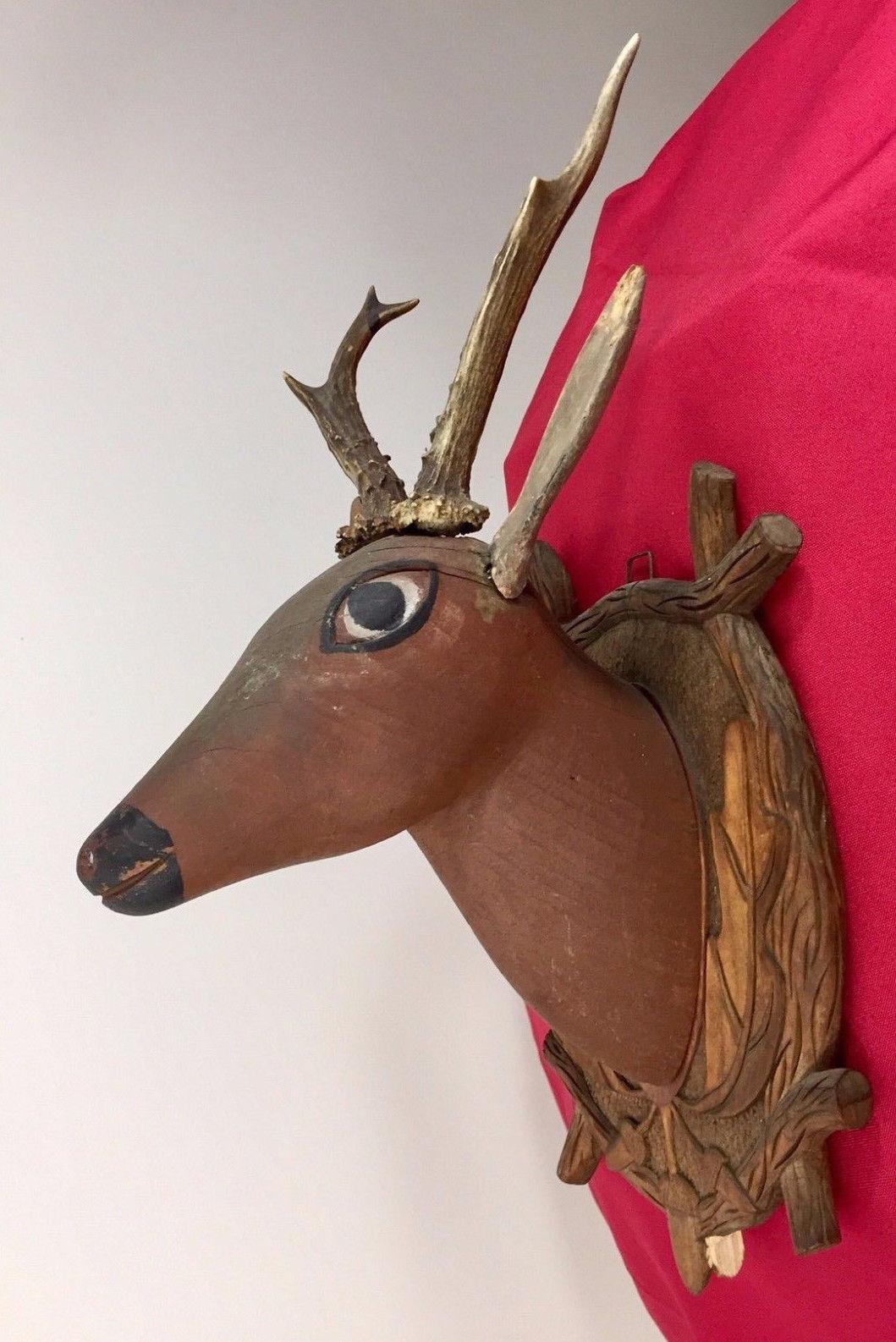 Antique 1900 Black Forest Hand Carved Wood German hunting deco design bauhaus image 2