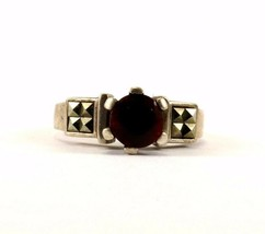 Vintage Ruby & Marcasite Design Ring 925 Sterling RG 1897 - $14.99