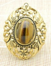 Tiger's Eye Gold Tone Repousse Necklace Pendant Vintage - $24.74