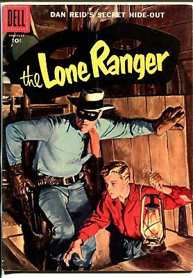Lone Ranger #104 1957-Dell-painted cover-Dan Reid's Secret Hide-Out-VG/FN image 1