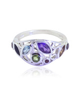 Lovely Gemstones Fancy Shape Faceted Multi Gemstone ring - 925 Silver Mu... - $21.99
